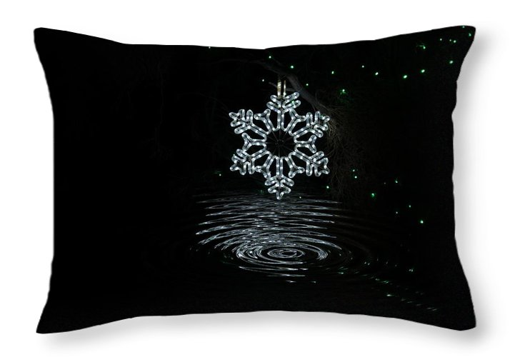 Snowflake Throw Pillow featuring the photograph A Ripple of Christmas Cheer by Colleen Cornelius