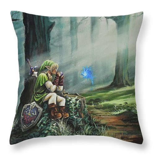 Landscape Throw Pillow featuring the painting A Song For Navi by Joe Mandrick