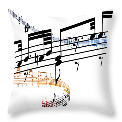 Sheet Music Throw Pillow featuring the digital art A Stave Of Music by Ian Mckinnell