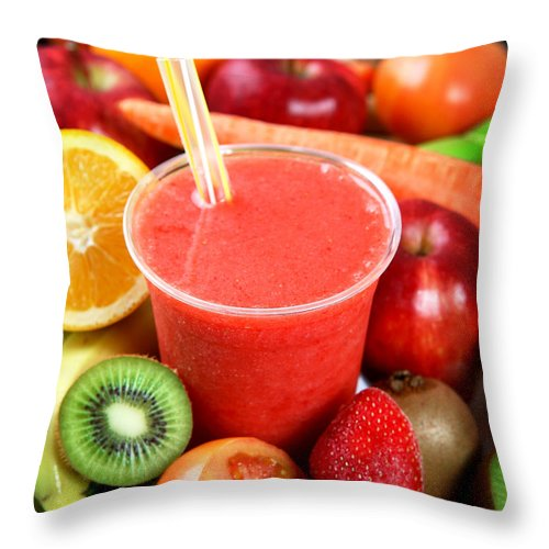Cool Attitude Throw Pillow featuring the photograph A Strawberry Smoothie Surrounded By by Whitewish