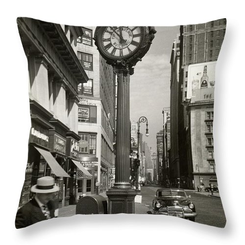 Public Mailbox Throw Pillow featuring the photograph A Street Clock On Fifth Ave., Nyc by George Marks