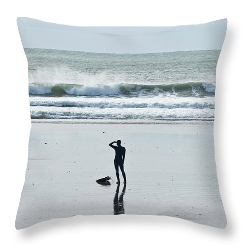 Young Men Throw Pillow featuring the photograph A Surfer Watches The Waves Before by Mark Marchesi