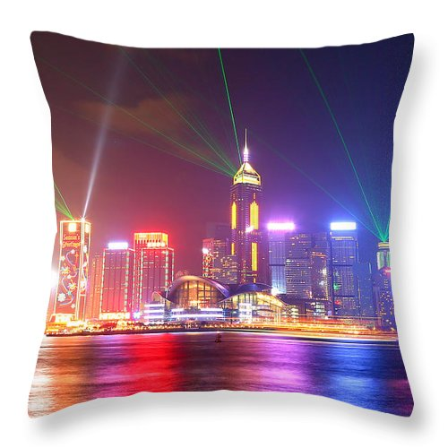 Tranquility Throw Pillow featuring the photograph A Symphony Of Lights by Liu Wai Yip Even