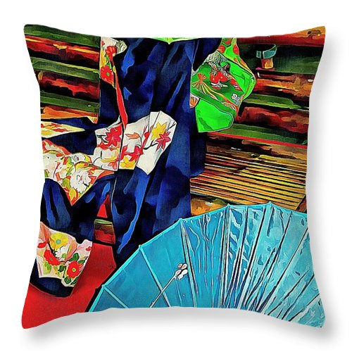 Colorful Oriental Parasols Throw Pillow featuring the photograph A Touch Of Japan by Dorothy Berry-Lound