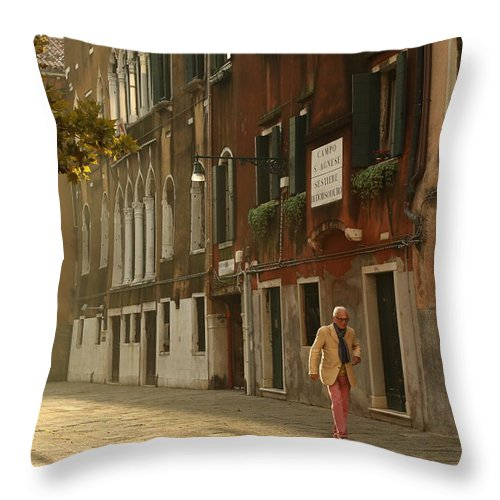 Venice Throw Pillow featuring the photograph A Venetian Stroll by Mary Buck