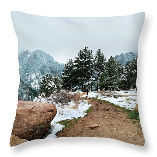 Flatirons Throw Pillow featuring the photograph A Winter's Day In The Flatirons by Marilyn Hunt