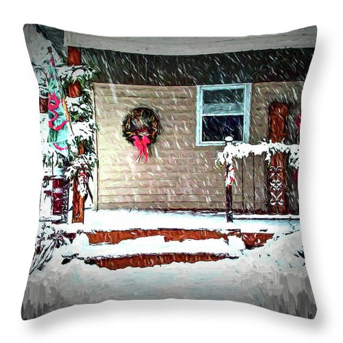 Winter Throw Pillow featuring the digital art A Wisconsin Christmas by Tommy Anderson