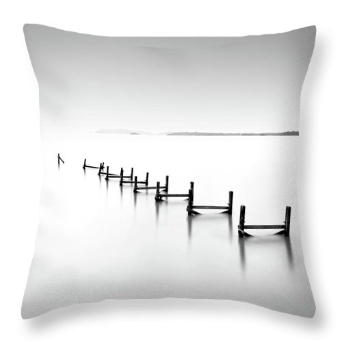 Tranquility Throw Pillow featuring the photograph Abandond Jetty by Photography By Azrudin
