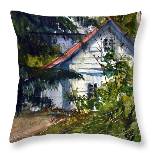 Farm Throw Pillow featuring the painting Abandoned II by Charles Rowland