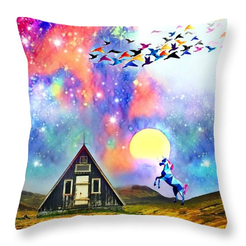 Throw Pillow featuring the digital art Abode Of The Artificial-dreamer Zero by Sureyya Dipsar