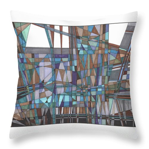 Abstract 31 Throw Pillow featuring the drawing Abstract 31 by Rickie Jacobs