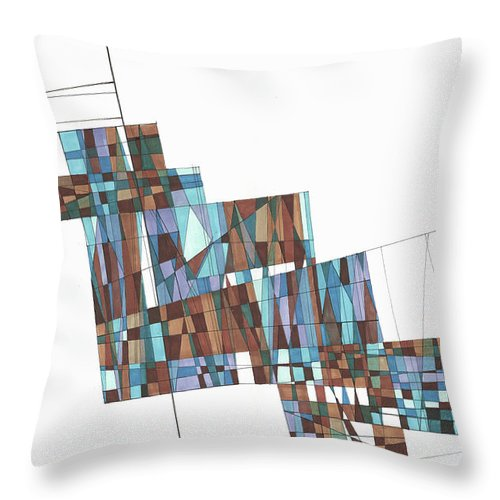 Abstract Throw Pillow featuring the drawing Abstract 32 by Rickie Jacobs