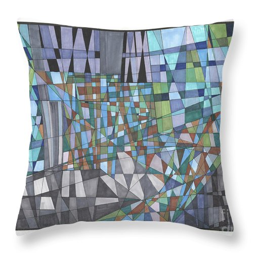 Abstract Throw Pillow featuring the drawing Abstract 33 by Rickie Jacobs