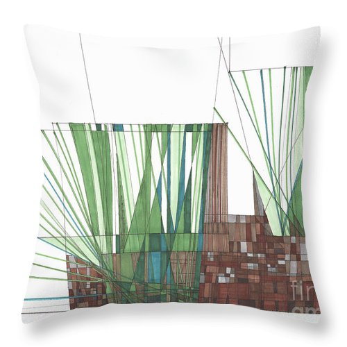 Abstract Throw Pillow featuring the drawing Abstract 35 by Rickie Jacobs
