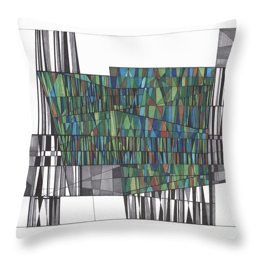 Abstract Throw Pillow featuring the drawing Abstract 37 by Rickie Jacobs