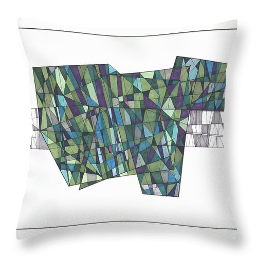Abstract Throw Pillow featuring the drawing Abstract 38 by Rickie Jacobs