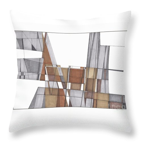 Abstract Throw Pillow featuring the drawing Abstract 43 by Rickie Jacobs