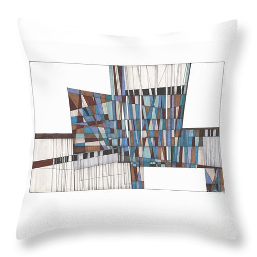 Abstract Throw Pillow featuring the drawing Abstract 45 by Rickie Jacobs