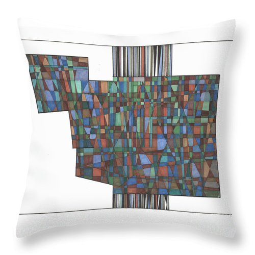Abstract Throw Pillow featuring the drawing Abstract 46 by Rickie Jacobs