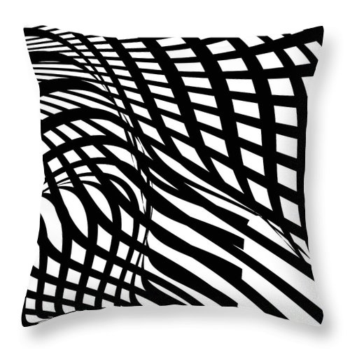 Curve Throw Pillow featuring the digital art Abstract Black And White Stripe Shape by Shuoshu
