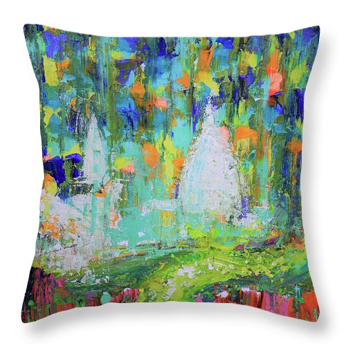 Surface Throw Pillow featuring the painting Abstract Paris Street by Denys Kuvaiev