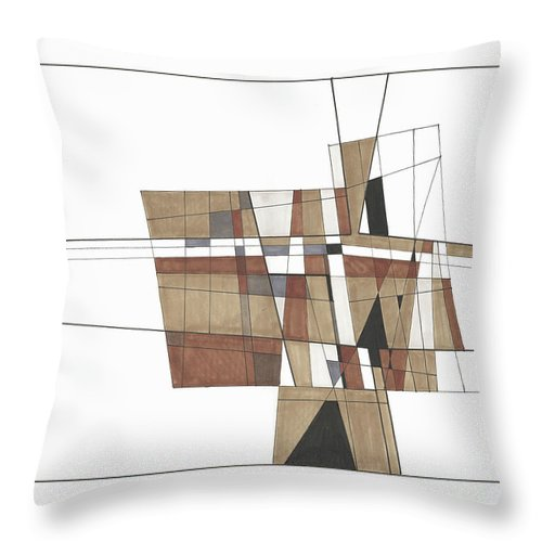 Abstract Throw Pillow featuring the drawing Abstract 30 by Rickie Jacobs