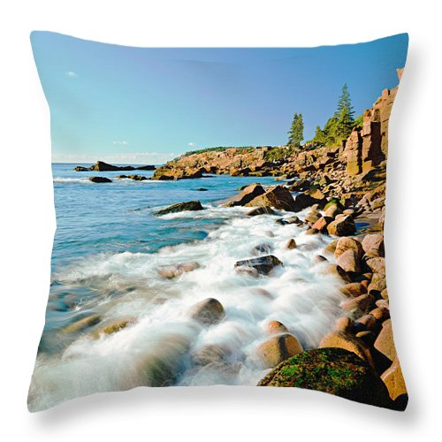 Water's Edge Throw Pillow featuring the photograph Acadia National Parks Rocky Atlantic by Ron thomas
