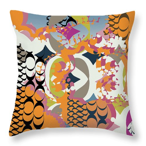 Orange Throw Pillow featuring the digital art Acorns by Ceil Diskin