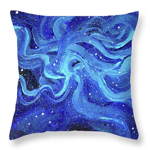 Space Throw Pillow featuring the painting Acrylic Galaxy Painting by Olga Shvartsur