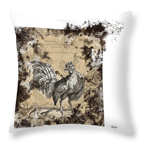 Antique Poultry Prints Grunge Modern Throw Pillow featuring the digital art Adam Lonitzer 1593, Barlow 1690 by Sigrid Van Dort