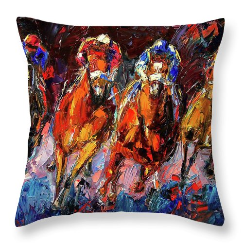 Horse Race Throw Pillow featuring the painting Adrenalin by Debra Hurd