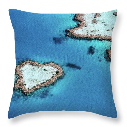 Dramatic Landscape Throw Pillow featuring the photograph Aerial Of Heart-shaped Reef, Hardy by Holger Leue
