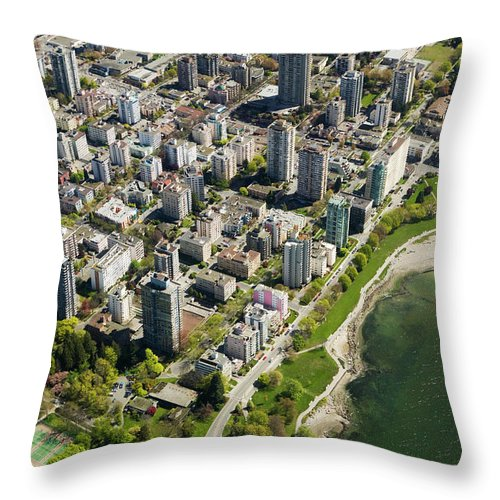 Outdoors Throw Pillow featuring the photograph Aerial Of West End, Vancouver by Lucidio Studio, Inc.