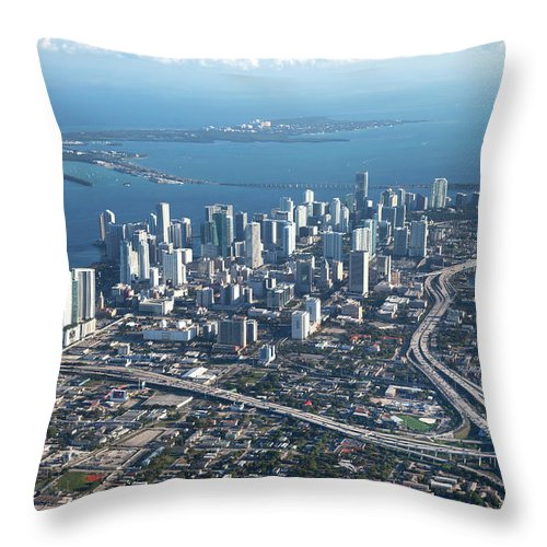 Outdoors Throw Pillow featuring the photograph Aerial View Of Miami by Buena Vista Images