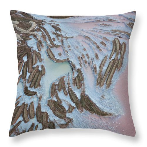 Extreme Terrain Throw Pillow featuring the photograph Aerial View Of Salt Works Namibia by Peter Adams