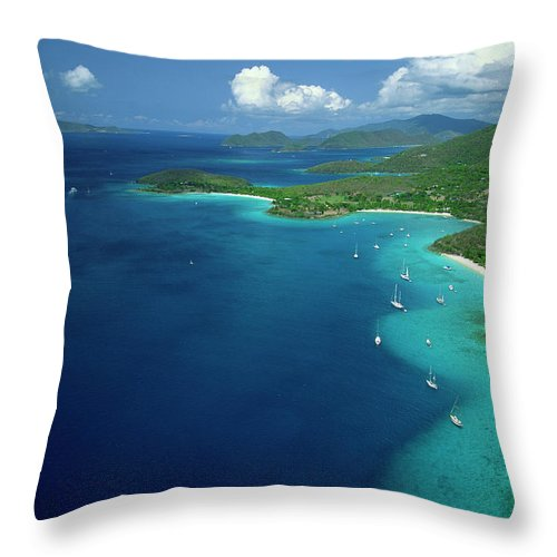 Sailboat Throw Pillow featuring the photograph Aerial View Of Shoreline by Don Hebert