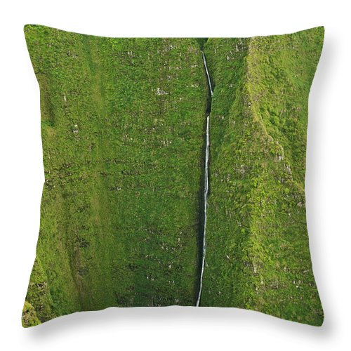 Scenics Throw Pillow featuring the photograph Aerial View Of Waterfall In Narrow by Enrique R. Aguirre Aves