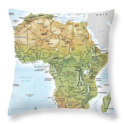 Topography Throw Pillow featuring the digital art Africa Continent Map With Relief by Globe Turner, Llc