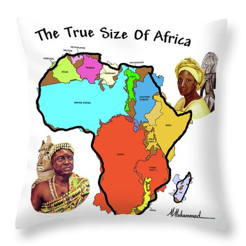 Africa Throw Pillow featuring the painting Africa In Perspective by Marcella Muhammad