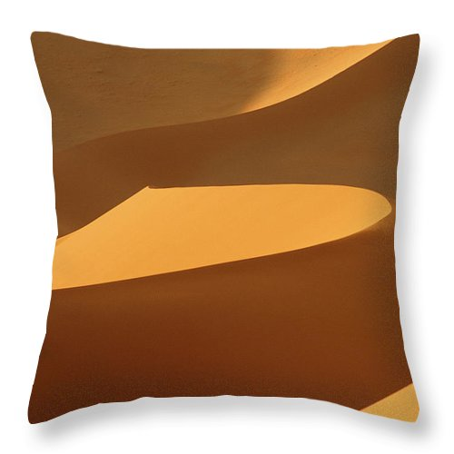 Shadow Throw Pillow featuring the photograph Africa, Namibia, Sand Dunes, Full Frame by Peter Adams