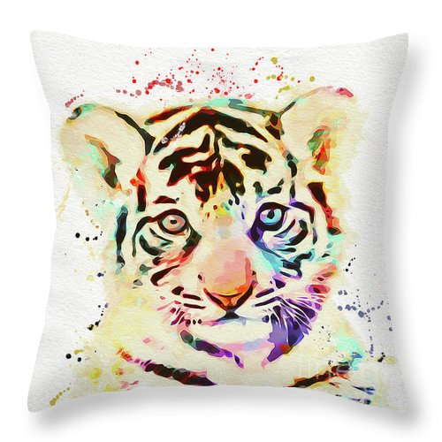 Tiger Throw Pillow featuring the painting African Animal by Nikolay Radkov