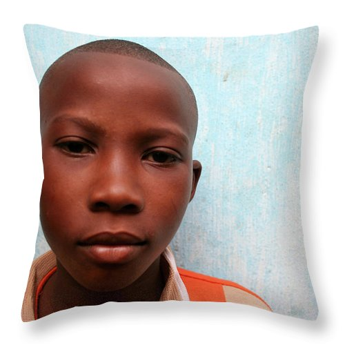 Education Throw Pillow featuring the photograph African Boy by Peeterv