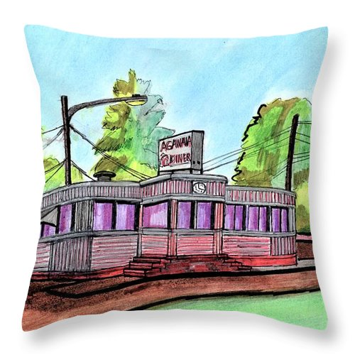 Paul Meinerth Throw Pillow featuring the drawing Agawam Diner by Paul Meinerth
