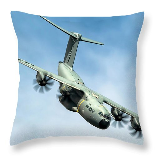 Airbus Throw Pillow featuring the photograph Airbus A400m Atlas In Flight B3 by Nir Ben-Yosef