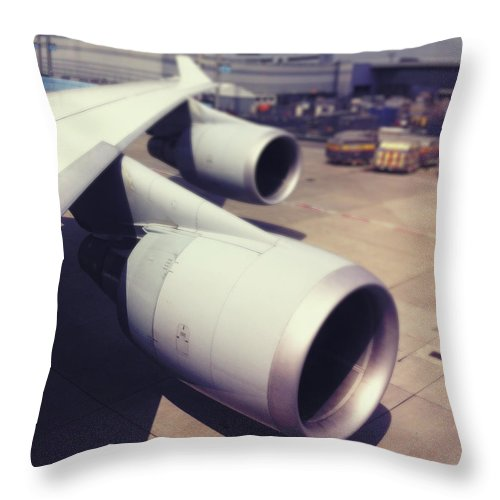Transfer Print Throw Pillow featuring the photograph Aircraft Engines by Ixefra