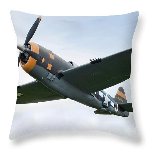 Air Attack Throw Pillow featuring the photograph Airplane P-47 Thunderbolt From World by Okrad