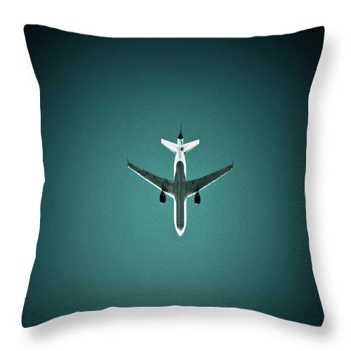 Outdoors Throw Pillow featuring the photograph Airplane Silhouette by Miikka S Luotio