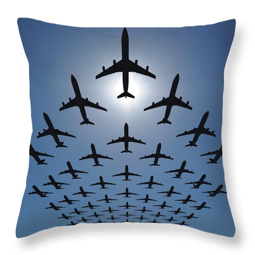 Expertise Throw Pillow featuring the photograph Airplane Silhouettes Fly In V Formation by Georgo