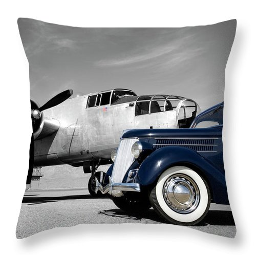 Propeller Throw Pillow featuring the photograph Airplanes And Cars by Sierrarat