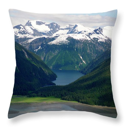 Extreme Terrain Throw Pillow featuring the photograph Alaska From The Air by Groveb